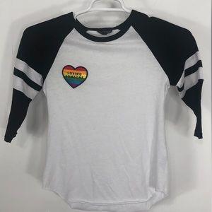 Topshop baseball shirt w/ rainbow loving someone